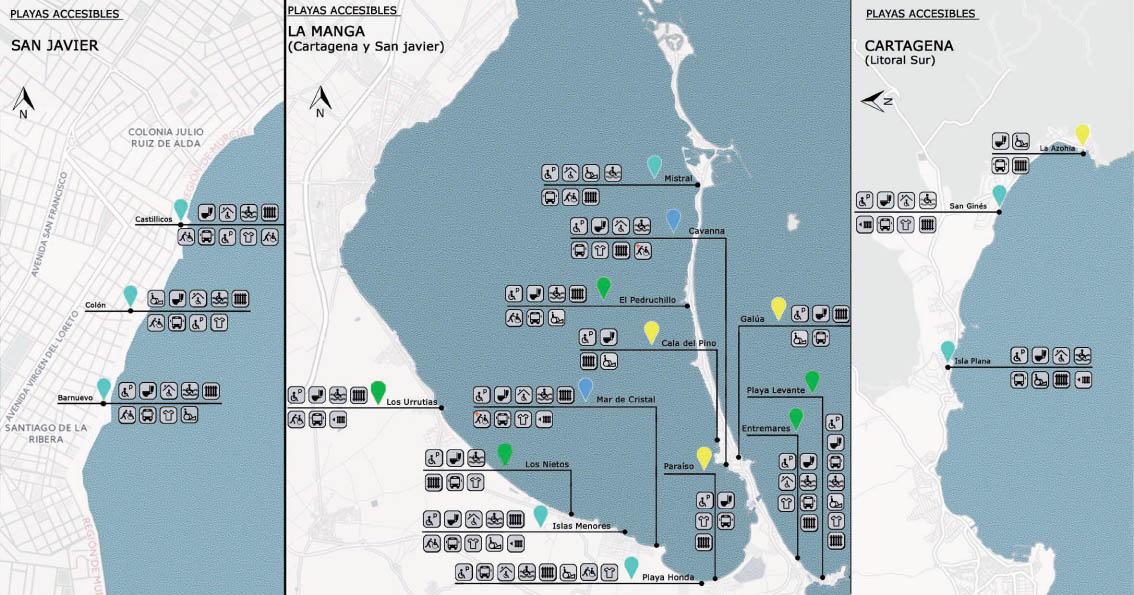 Mapas playas accesible Región de Murcia